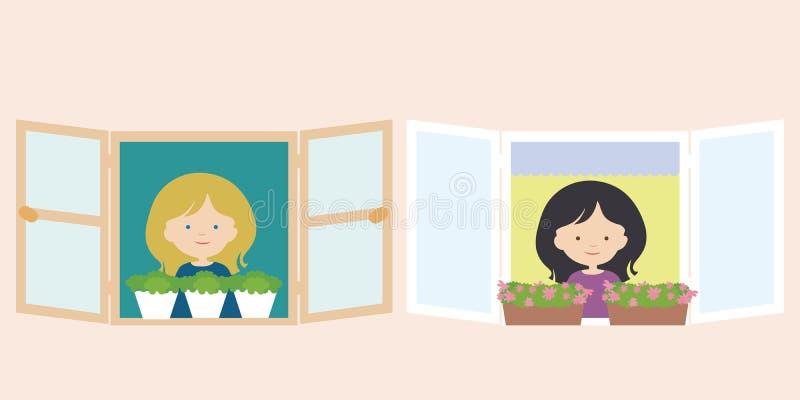 两名妇女,邻居,站立在与花盆和smi的窗口里 库存例证