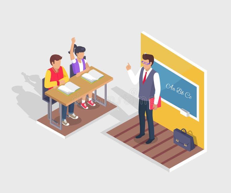 两名学生男孩和女孩坐在书桌,老师立场 皇族释放例证