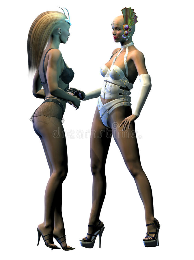 两名性感的外籍人妇女讲话 向量例证