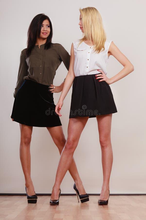 两名时尚妇女非洲人和白种人摆在 库存图片