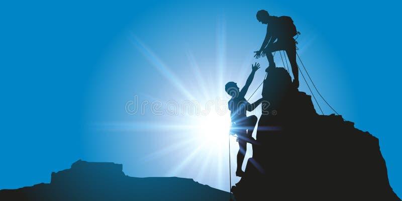 两名登山家提供援助到达山顶 向量例证