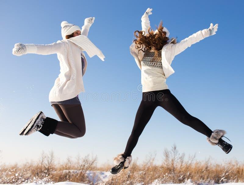 两名年轻愉快的妇女,两个朋友,获得乐趣 免版税库存照片