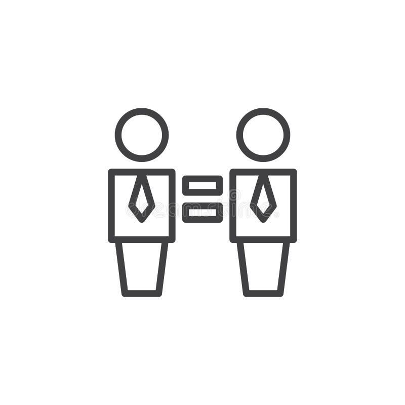 两商人和平等标志概述象 库存例证