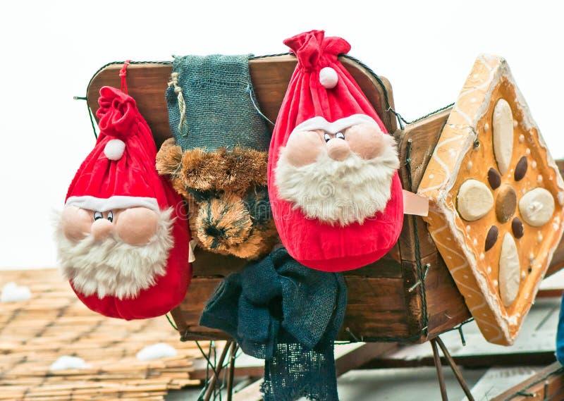 两圣诞老人装饰 免版税图库摄影