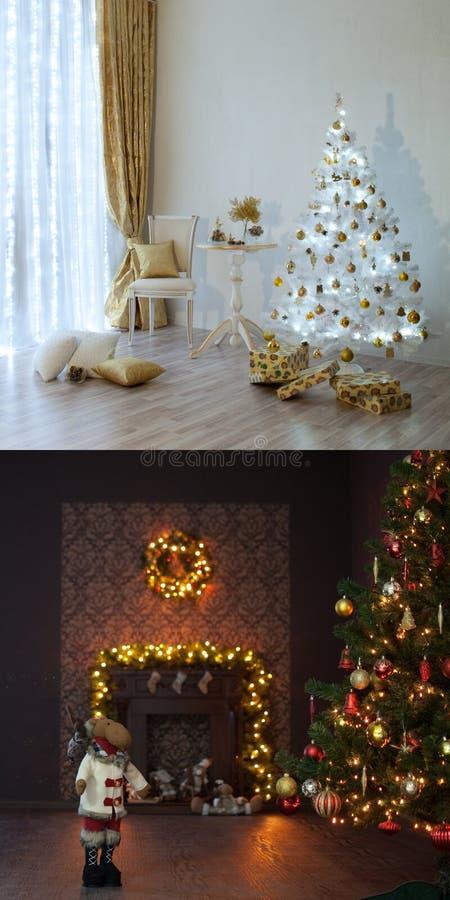 两圣诞节内部 免版税库存图片