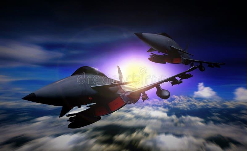 两在使命的喷气式歼击机飞行 库存例证