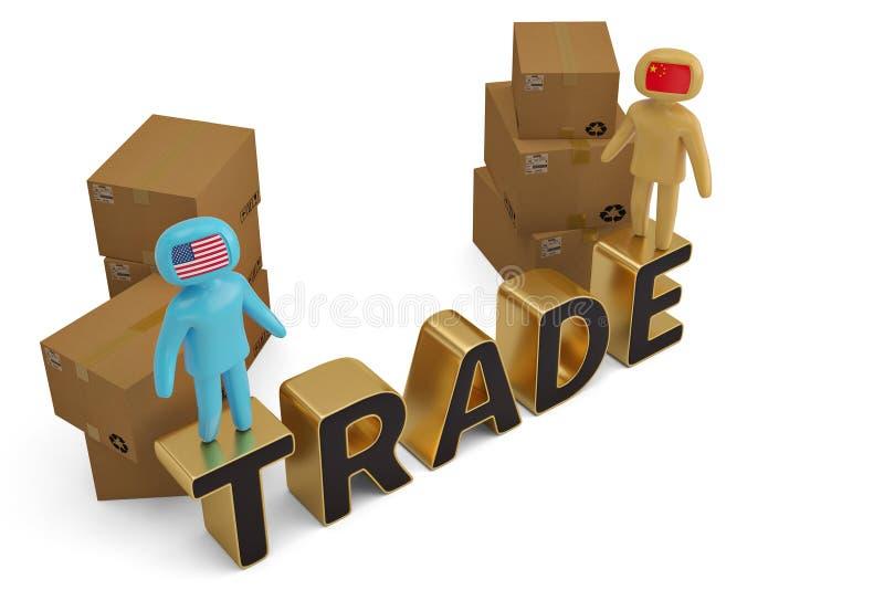 两在商业信件和纸盒3D例证的图人们 库存例证