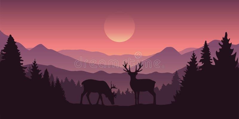 两在山的驯鹿与森林风景 向量例证