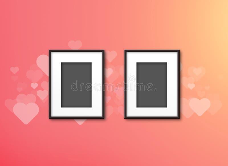 两在桃红色情人节背景的空白的照片框架 皇族释放例证