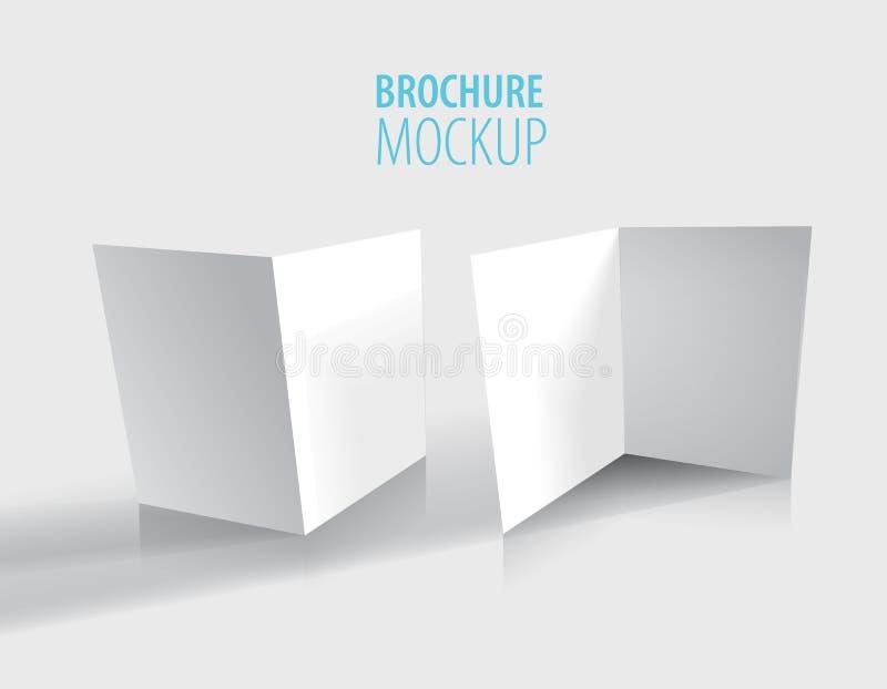 两在灰色隔绝的白色小册子设计 现实样式 库存例证
