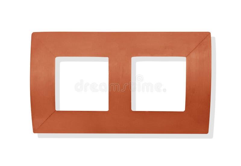 两在白色背景隔绝的图片的木框架 图库摄影