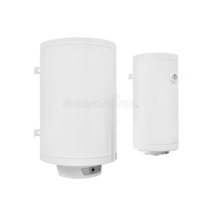 两在白色背景隔绝的现代自动电水加热器锅炉 库存照片