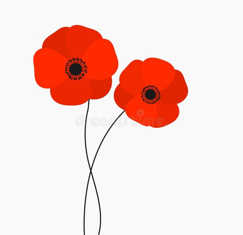 两在白色背景隔绝的红色鸦片花卉生长 库存例证