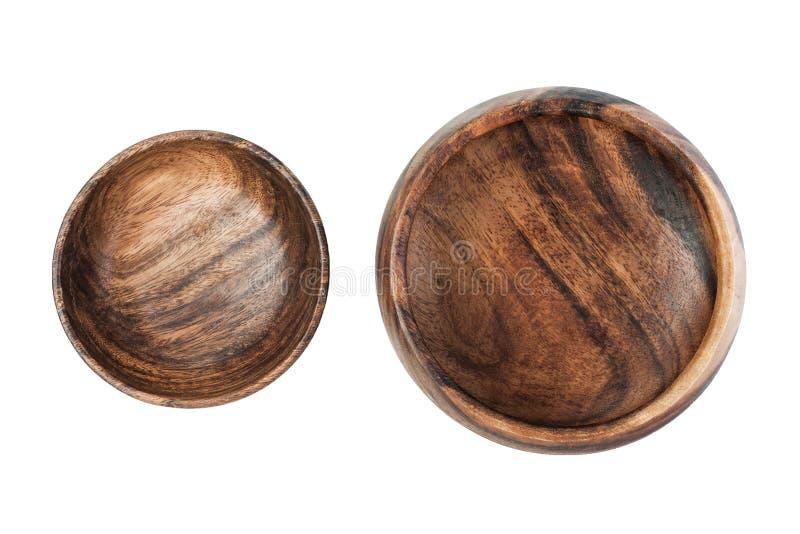 两在白色背景顶视图隔绝的葡萄酒空的棕色木板材 免版税库存照片
