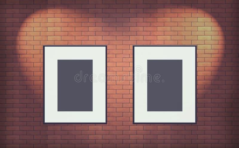 两在砖墙内部的老空白的照片框架 向量例证