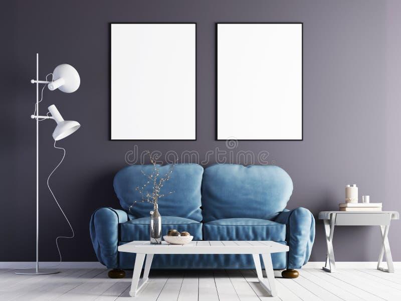 两在紫色墙壁上的假装海报有在现代内部的一个蓝色沙发的 库存例证
