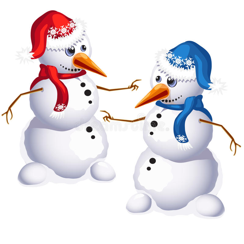两在红色和蓝色衣裳的传统雪人 向量例证