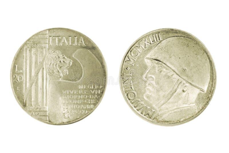 两在whi隔绝的银色意大利人墨索里尼里拉硬币的边 免版税库存照片