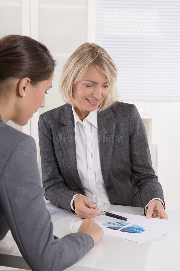 两坐在书桌的女商人:顾客和顾问谈话 免版税库存图片