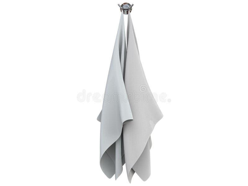 两块白色干净的洗碗布 库存例证