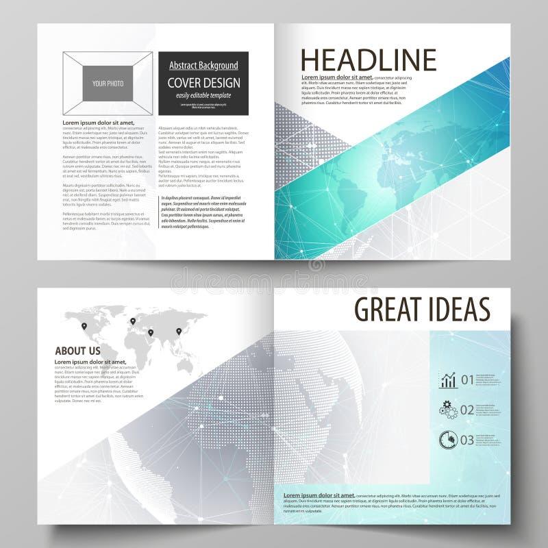 两块盖子模板编辑可能的布局的传染媒介例证方形的设计双折叠小册子的,杂志 皇族释放例证