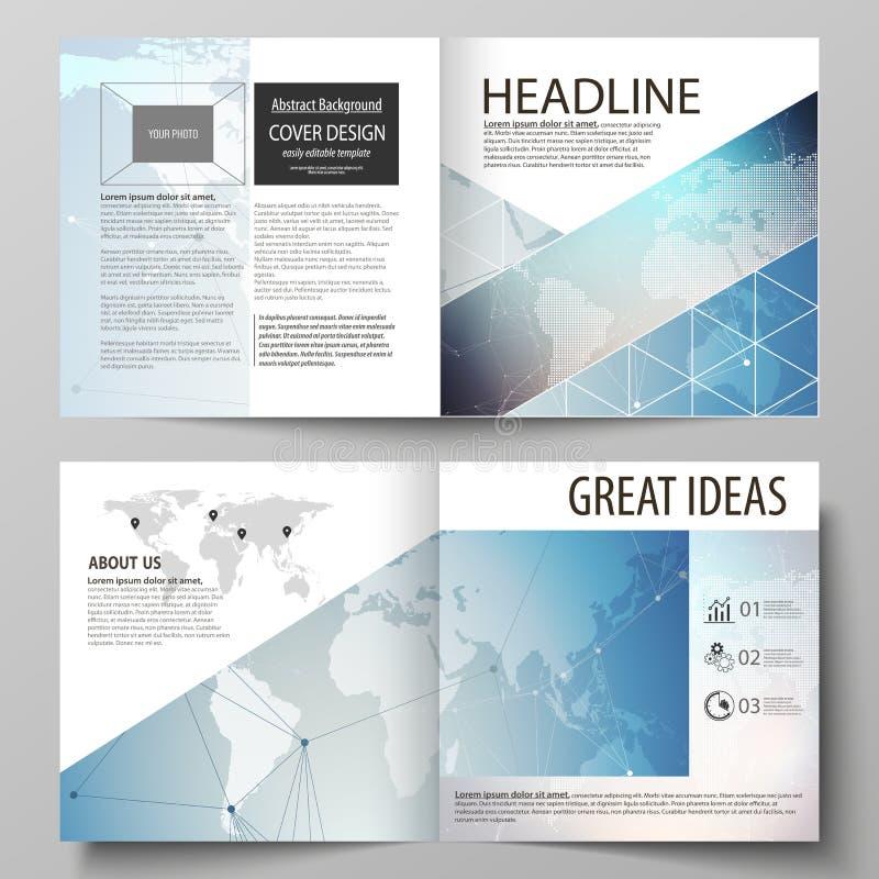 两块盖子模板编辑可能的布局的传染媒介例证方形的设计双折叠小册子的,杂志,飞行物 向量例证