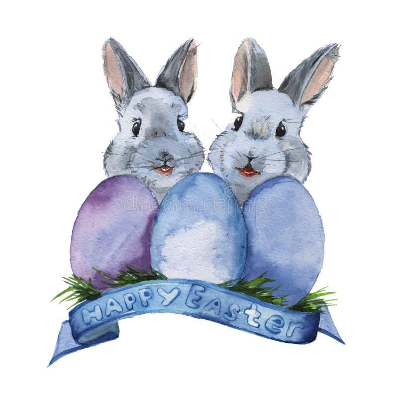 两复活节兔子用三个鸡蛋 查出 水彩 向量例证