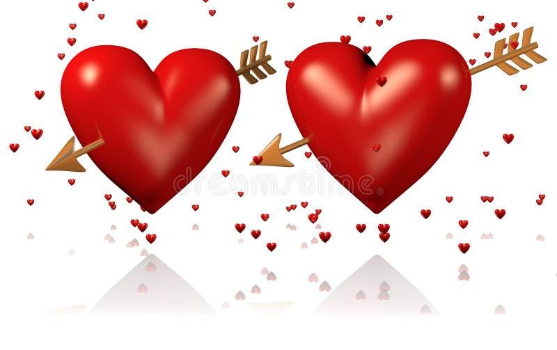 两大和与金黄箭头和许多的红色心脏微小的心脏 库存例证