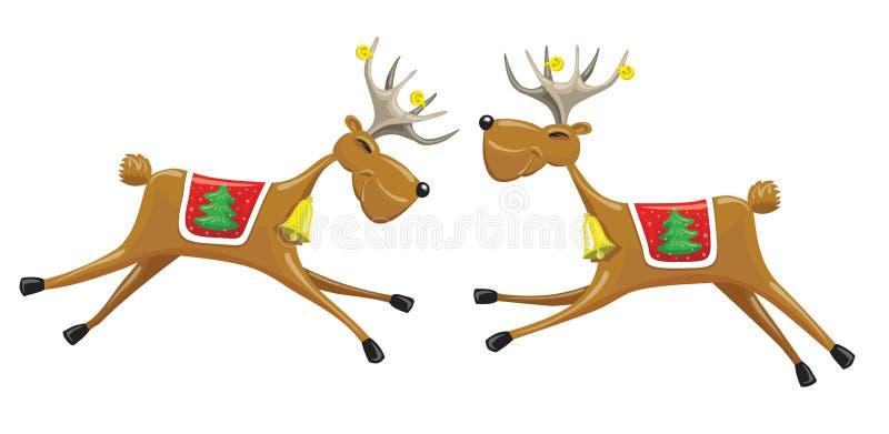 两头圣诞节驯鹿 皇族释放例证