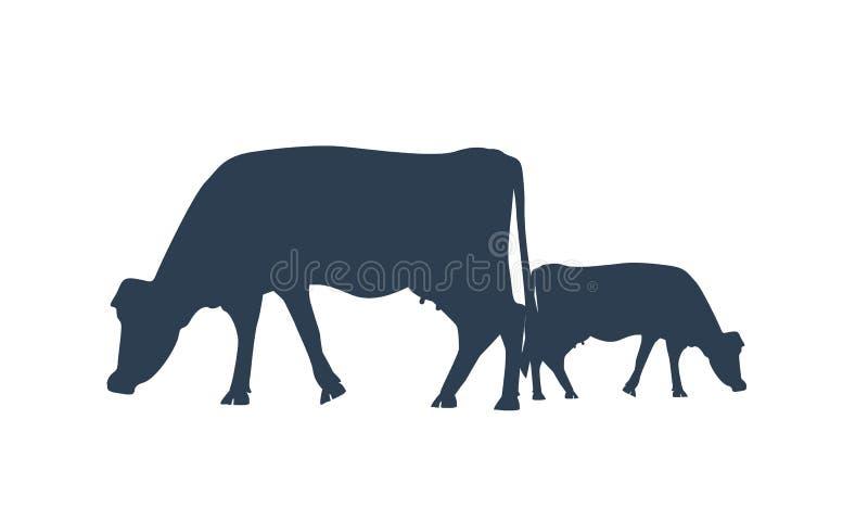 两头母牛剪影  导航母牛象或标志牛奶或肉或者牲口概念的 向量例证