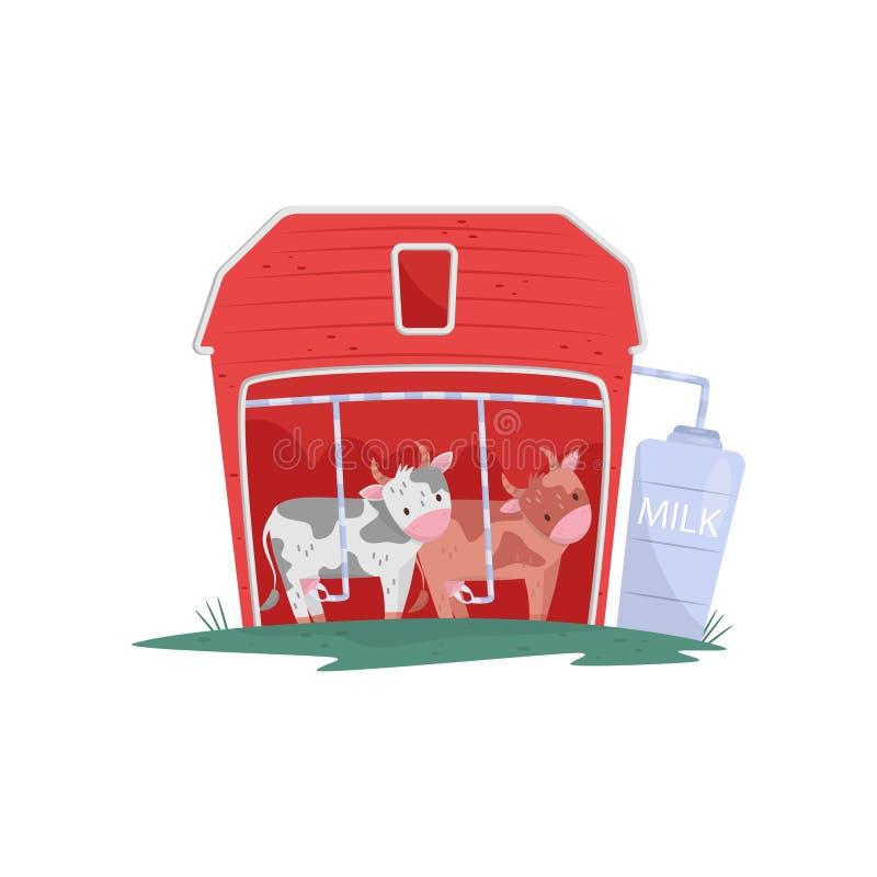 两头滑稽的母牛在红色木谷仓 自动挤奶 牛奶生产 古老被创建的奶牛场国民游人传统特殊地运作 平的传染媒介设计 库存例证