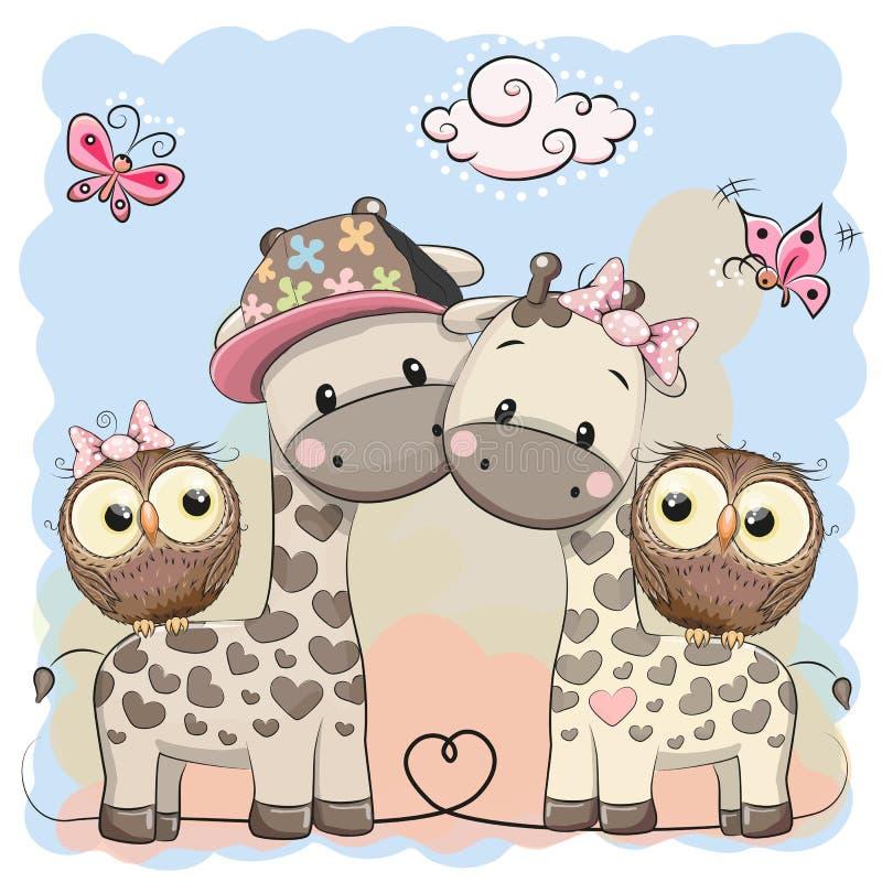 两头逗人喜爱的长颈鹿和猫头鹰 向量例证