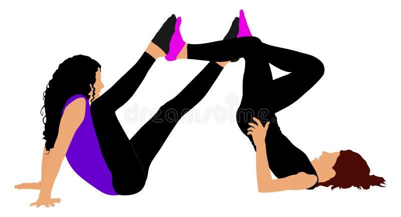 两女孩席子锻炼,在地板上的自行车姿势做准备的, 向量例证