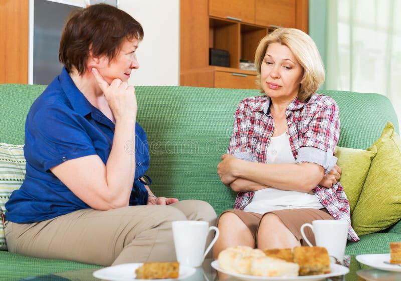 两女性有严肃的交谈 库存照片
