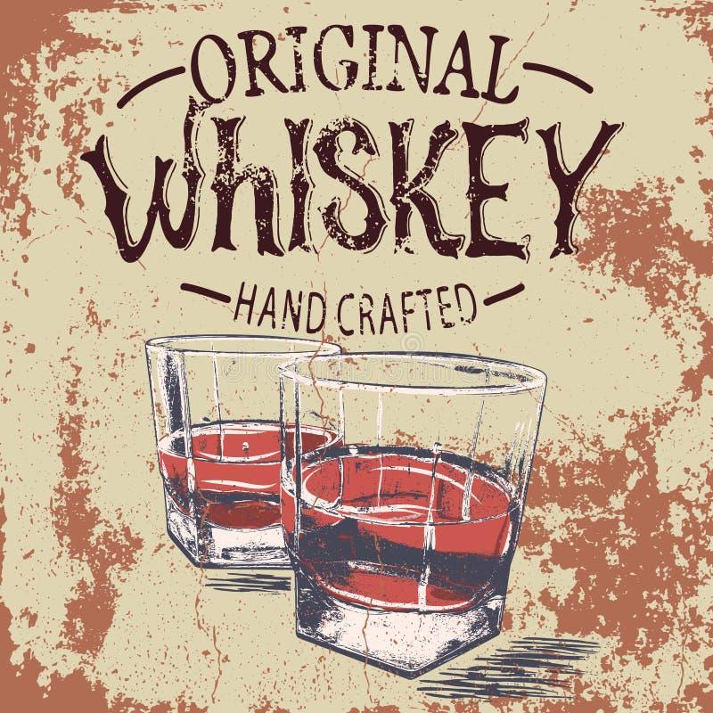 两威士忌酒的器皿与难看的东西作用的 库存例证