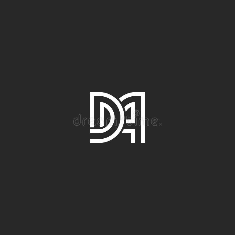 两封信件组合图案商标DA或广告最初组合原始的印刷术设计、D和一个连接的婚姻的象征 皇族释放例证