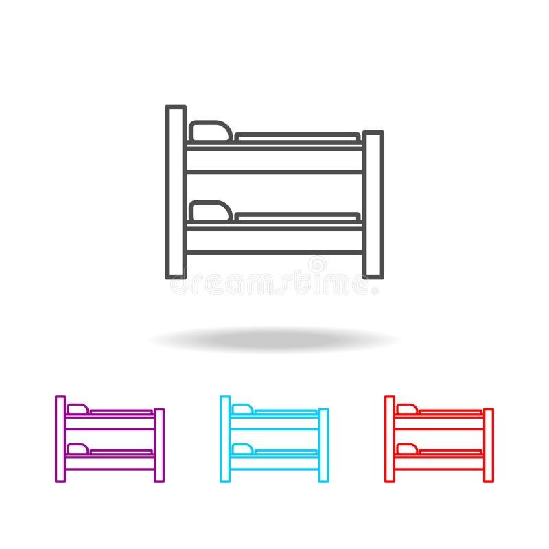 两层床象 家具的元素在多色的象的 优质质量图形设计象 网站的简单的象, w 向量例证