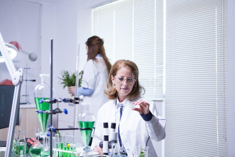 两工作在农业发展的一个研究实验室的女性科学家 库存照片