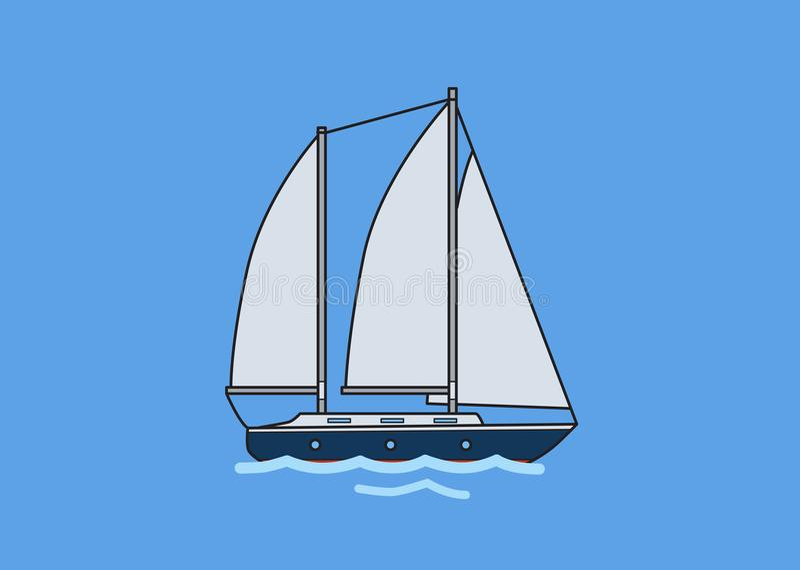 两帆柱航行游艇,风船 平的传染媒介例证 查出在蓝色背景 皇族释放例证