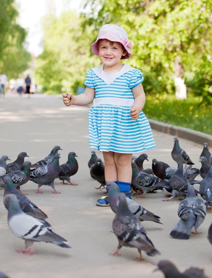 两年的女孩提供的鸽子 免版税库存图片