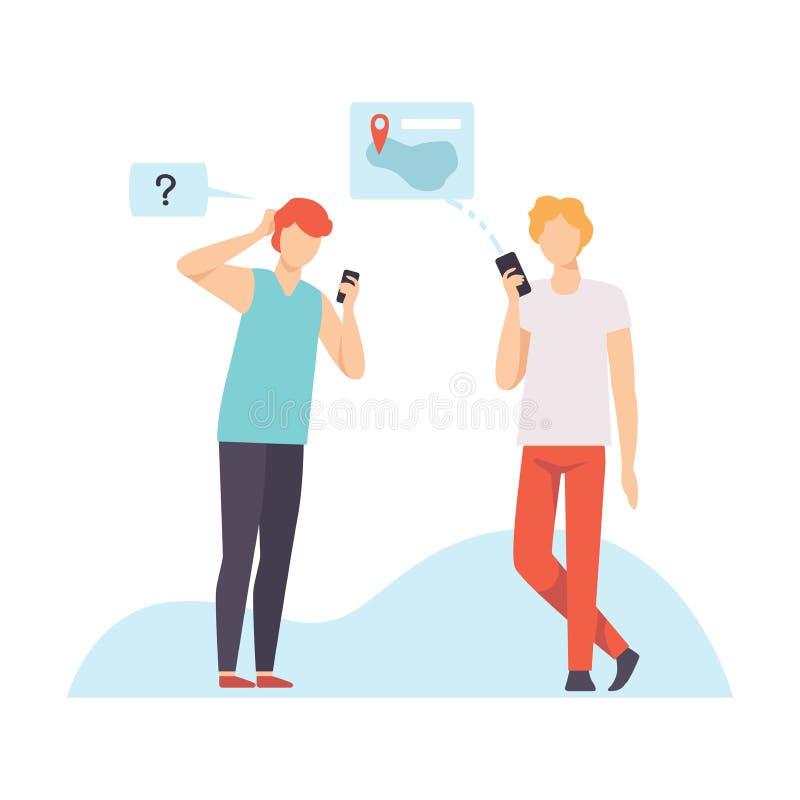两年轻人沟通使用智能手机的,聊天通过有移动设备的互联网,社会网络传染媒介的人 库存例证