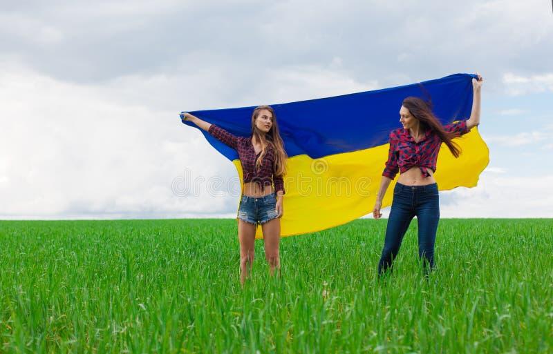 两年轻美丽的乌克兰女孩转动了乌克兰黄色和b 库存照片