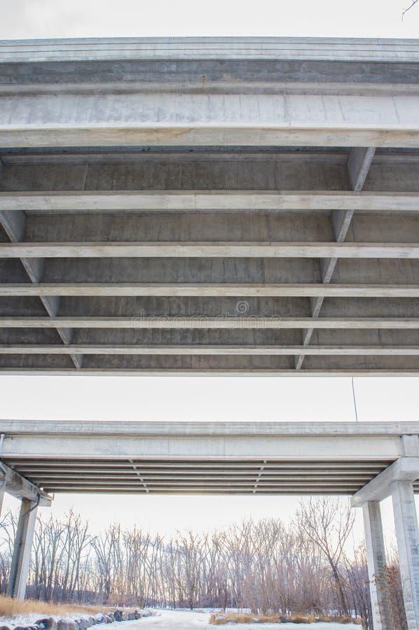 两座跨境桥梁-有森林的水泥桥梁下面/地下过道在双城南部的在明尼苏达河旁边 库存图片