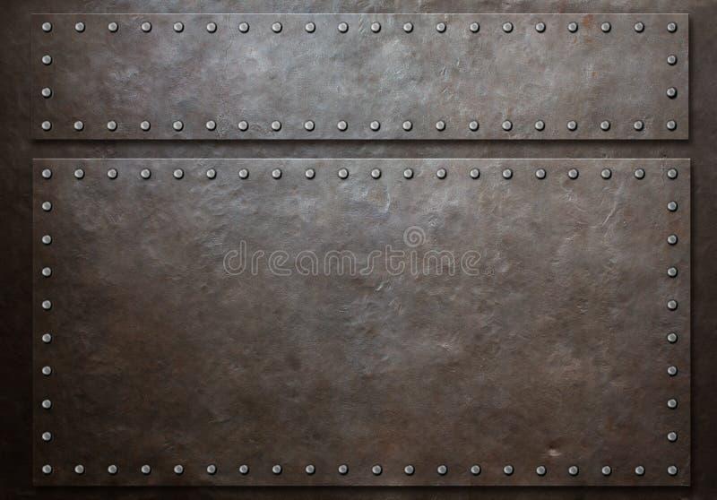 两弄脏了有铆钉的钢板在金属背景 免版税图库摄影