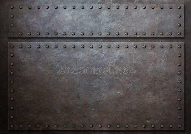 两弄脏了有铆钉金属背景3d例证的钢板 向量例证