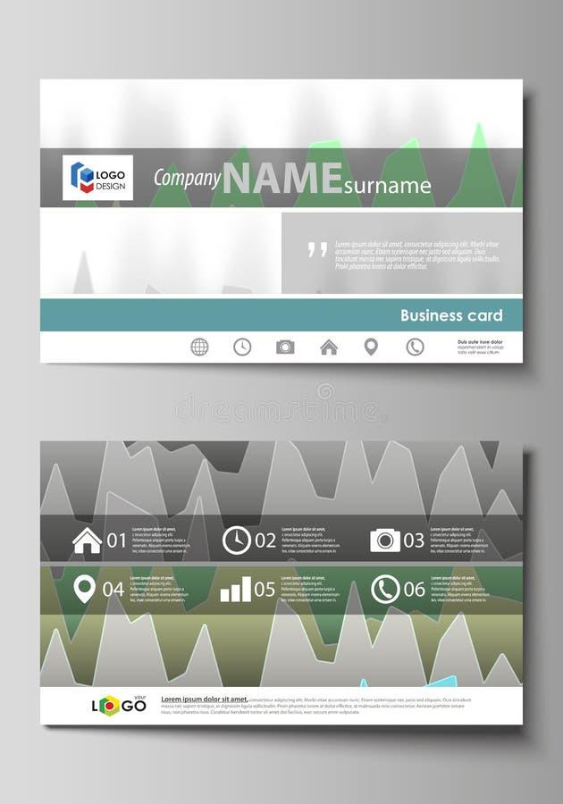 两张创造性的名片编辑可能的布局的minimalistic抽象传染媒介例证设计模板 皇族释放例证