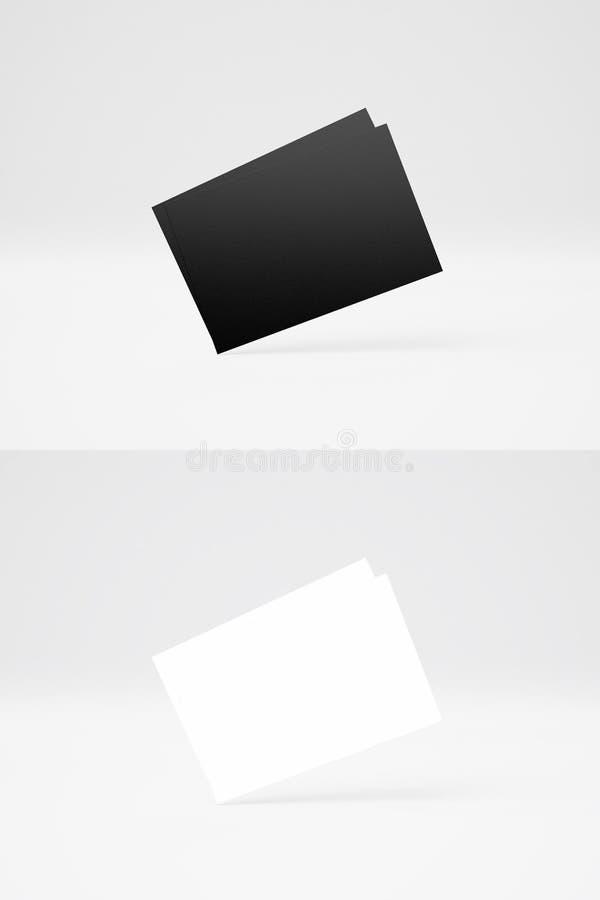 两张堆黑白名片双重垂直的照片在抽象背景的 空的卡片行纹理 向量例证
