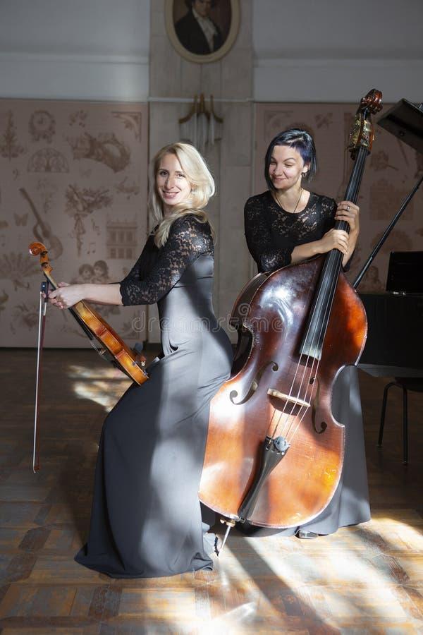 两弹小提琴的美丽的妇女 免版税库存图片