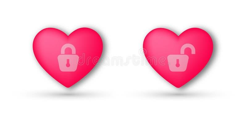两心脏爱在白色背景的唯一,结婚的概念摘要传染媒介 向量例证