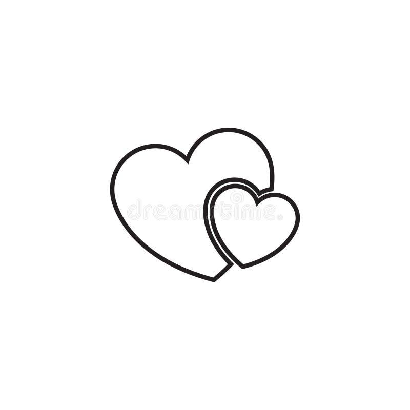 两心脏线象-导航简单的心脏标志或爱标志 婚姻的线性商标元素 库存例证